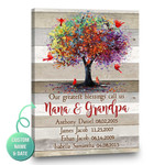 Our greatest blessings call us nana and grandpa grandkids cardinals personalized gift poster with name and date
