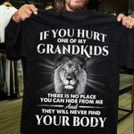 If you hurt one of my grandkids there is no place you can hide from me t shirt funny gift for grandpa Tshirt