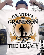 Grandpa and grandson the legend and the legacy white t-shirt gift for grandpas grandsons anniversity Tshirt