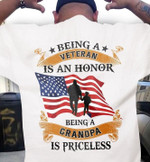Being a veteran is an honor being a grandpa is priceless t shirt gift for grandpa veterans Tshirt