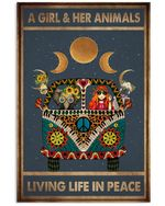 A Girl Her Animals Living Life In Peace poster canvas