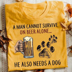 Man Cannot Survive On Beer Alone He Also Needs Dog Animals Lovers
