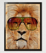 Lion With Wear Glasses Cool Animal Wild Life King Print Home Decor Wall Art Gift