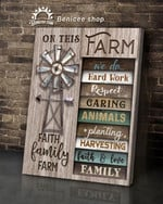 this farm we do hard work respect caring animals planting harvesting poster