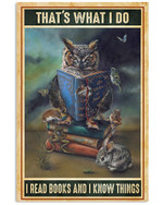I read books and know things Animals and Owl Poster poster canvas