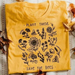 Plant these sunflower lavender aster nature poppy save bees animal insects lover birthday gift t shirt