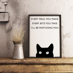 Vintage Cat Print Ill be Watching You Animal Print Cat Funny Quote Print poster poster canvas