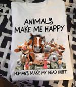 Animals make me happy humans make my head hurt farmer shirt Tshirt Hoodie Sweater