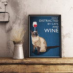 Cat And Wine Cat Cat Print Animal Animal Print Comedy Quote poster poster canvas