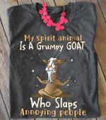 My spirit animal is a grumpy goat who slaps annoying people tshirt Tshirt Hoodie Sweater