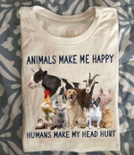 Animals make me happy humans make my head hurt t shirt Tshirt Hoodie Sweater