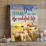 Personalized custom name date Dear god thanks for this beautiful life Sheep Butterfly poster gift for farmer farming animal breeder