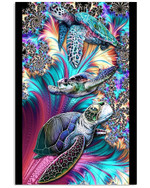 Turtle Blue Roses Fractal Color Art Feathers Best Gift Poster Canvas For Animal Lovers Poster