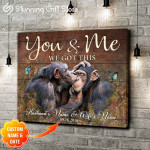 Chimpanzee butterflies wild you & me we got this personalized name & date animal poster canvas
