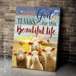 Dear god thanks for this beautiful life Sheep Butterfly poster personalized custom name date gift for faming farmer animal breeder