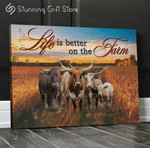 Life is better on the farm Animal Bufallo Cow poster personalized custom name date gift for farming famer breeder