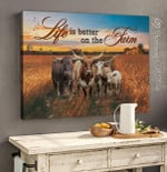 Personalized custom name date Life is better on the farm Cow Bufallo gift for famer farming animal breeder poster