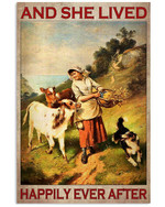 Animals And She Lived Happily Ever After Poster Canvas Decor Gift For Woman Farmer Poster