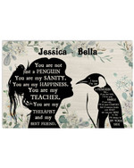 Personalized You Are Not Just A Penguin Sanity Girl Silhouette Best Gift Poster Canvas Custom Name For Animal Lovers Poster