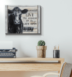 Live like someone left the gate open black angus cow wood decoration poster canvas gift for farmer animals lovers Poster