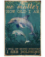 No Matter How Old I Am I Still Get Excited Everthing I See Dolphins Poster Canvas Gift For Animal Lovers Poster