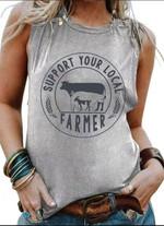 Support Your Local Farmer Logo T-Shirt Gift For Housing Farm Famers Animal Breeders Tshirt
