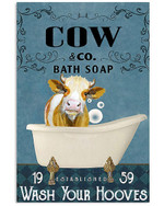 Lovely Brown Cow Co Bath Soap Wash Your Hooves Bathroom Decoration Poster Canvas Gift For Cow Lovers Farmer Animal Lovers Poster