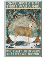 Once Upon A Time There Was A Girl Who Really Loved Sheeps Poster Canvas Gift For Animal Lovers Poster