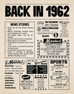 Back in 1962 hot events vintage retro art birthday gifts 58 year olds 58th anniversary home decor gift for man woman