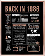 Back in 1986 hot events rose gold art birthday gifts 34 year olds 34th anniversary home decor rose gold gift for man woman