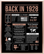 Back in 1928 hot events slangs rose gold art birthday gifts 92 year olds 92th anniversary home decor rose gold gift for man woman