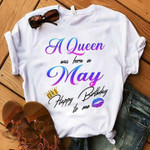A queen was born in may happy birthday to me crown lips t shirt hoodie sweater