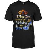 May Girl Stepping Into My Birthday Like A Boss Purple Blue Diamond Glitter High Heel