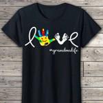 Love grandmalife hand colorful fingers foot hashtag nana for family birthday gift t shirt