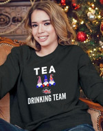Tea drinking team england gnome tea set flag for tea lover birthday gift t shirt