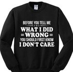 Before you tell me what i did wrong you should know i dont care friendship birthdaygift hoodie
