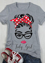 July girl lady face icon birthday t-shirt Tshirt Hoodie Sweater