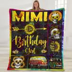 Mimi Of The Birthday Girl Mom Sunflower Gifts sunflower skulls Fleece Blanket