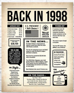 1998 The Year You Were Born vintage newspaper Style birthday party poster canvas gift for people born in 1998 Poster