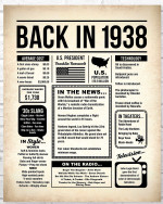 1938 The Year You Were Born vintage newspaper Style birthday party poster canvas gift for people born in 1938 Poster