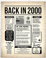 2000 The Year You Were Born Newspaper Style birthday party poster canvas gift for people born in 2000 Poster