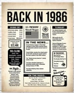 1986 The Year You Were Born vintage newspaper Style birthday party poster canvas gift for people born in 1986 Poster