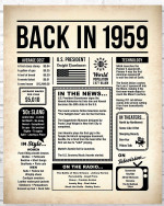 1959 The Year You Were Born vintage newspaper Style birthday party poster canvas gift for people born in 1959 Poster