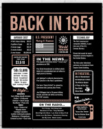 1951 The Year You Were Born Newspaper Style birthday party poster canvas gift for people born in 1951 Poster