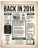 2014 The Year You Were Born vintage newspaper Style birthday party poster canvas gift for people born in 2014 Poster