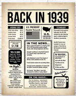 1939 The Year You Were Born vintage newspaper Style birthday party poster canvas gift for people born in 1939 Poster