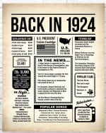 1924 The Year You Were Born vintage newspaper Style birthday party poster canvas gift for people born in 1924 Poster