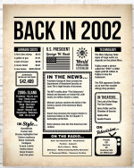 2002 The Year You Were Born vintage newspaper Style birthday party poster canvas gift for people born in 2002 Poster