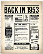 1953 The Year You Were Born vintage newspaper Style birthday party poster canvas gift for people born in 1953 Poster