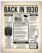 1930 The Year You Were Born vintage newspaper Style birthday party poster canvas gift for people born in 1930 Poster